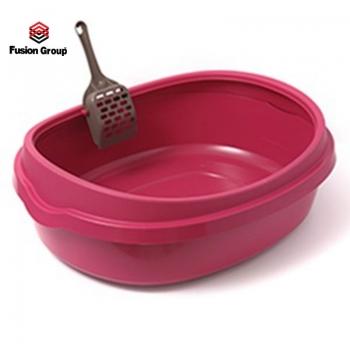 Khay vệ sinh cho mèo size  lớn - Màu hồng Purmi (kèm xẻng)