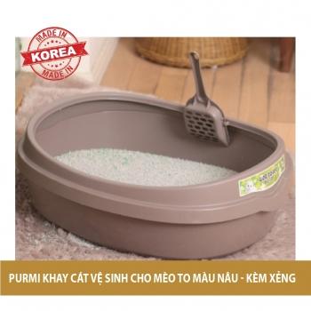 Khay vệ sinh cho mèo Purmi size lớn - Màu nâu (kèm xẻng)