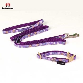 Set vòng cổ + dây dắt 10mm màu tím